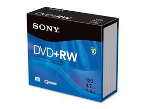 SONY 4.7GB 4X DVD+RW 10 Packs Disc Model 10DPW47R2