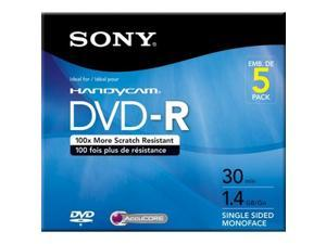 SONY 1.4GB DVD-R 5 Packs Media Model 5DMR30R1H