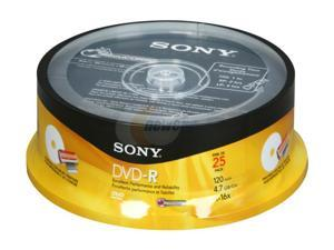 SONY 4.7GB 16X DVD-R Inkjet Printable 25 Packs Disc Model 25DMR47RSP4