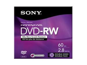SONY 2.8GB DVD-RW Single 8CM 60MIN Double Sided Disc Model DMW60DSR2H