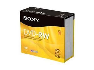 SONY 4.7GB 2X DVD-RW 10 Packs Disc Model 10DMW47R2