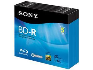Sony BNR25R3H Blu-ray Recordable Media - BD-R - 6x - 25 GB - 5 Pack Jewel Case