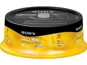 SONY 4.7GB 2X DVD-RW 25 Packs Discs Model 25DMW47RS