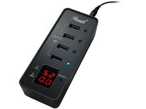 Rosewill RHB-344 USB 3.0 4-Port Hub and Fast Charging with Voltage & Current Display Screen For Each Port Detection - Retail