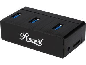 "Rosewill RHB-420 Aluminum Mini USB 3.0 3-PORT Hub Plus 2.5"" SATA I/II/III (6.0 Gb/s) SSD/HDD Adapter"
