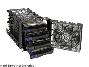 "ICY DOCK Black Vortex MB074SP-B 3.5"" Black IDE / SAS / SATA HDD 4-in-3 Module Metal Open Frame Cooler Cage w/ 120 mm blue LED fan"