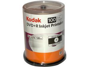 Kodak 4.7GB DVD+R Inkjet Printable 100 Packs Dvd'S, White Model 52499