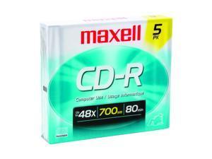 maxell 700MB 40X CD-R 5 Packs CD-R Media Model 623205/648205