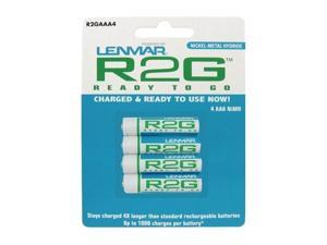 LENMAR R2GAAA4 4-pack 850mAh AAA Ni-MH Ready-2-Go Rechargeable Batteries