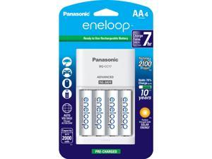 Panasonic K-KJ17MCA4BA eneloop Advanced 4-position Charger & 4-pack AA New 2100 Cycles Rechargeable Batteries