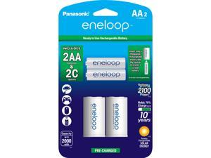 "Panasonic K-KJS2MCA2BA eneloop 2-pack AA Rechargeable Batteries + 2 ""C"" Spacer Kit"