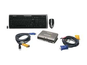 IOGEAR 2-Port Dual Platform KVMP Switch w/ Wireless Keyboard and Mouse Kit