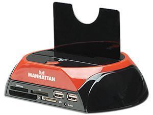 MANHATTAN 130004 Black/Red Multi-Function SATA Quick Dock w/ Multi-Card Reader