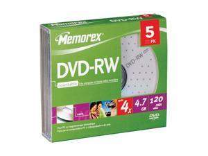memorex 4.7GB 4X DVD-RW 5 Packs Media Model 05745