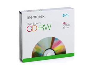 memorex 700MB 12X CD-RW 5 Packs DISC Model 32023430