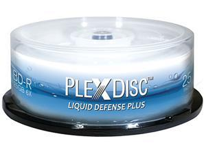 PlexDisc 25GB 6X BD-R Water Resistant Glossy White Inkjet Hub Printable 25 Packs Spindle Disc Model 633-C13