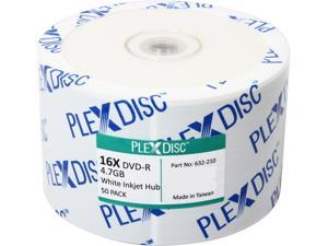 PlexDisc 4.7GB 16X DVD-R Inkjet Printable 50 Packs Disc Model 632-210