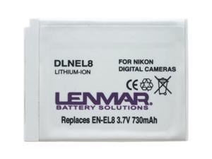 LENMAR DLNEL8 1-Pack 730mAh Li-Ion Replacement Battery for Nikon EN-EL8