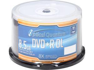 Optical Quantum 8.5GB 8X DVD+R DL White Inkjet Hub Printable 50 Packs Disc Model OQDPRDL08WIP-H