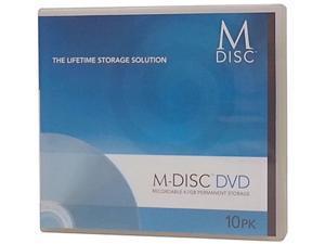 M-Disc 4.7GB Inkjet Printable DVD+R Recordable Media - 10 Disc Case Model MDDPR04WIP-C10
