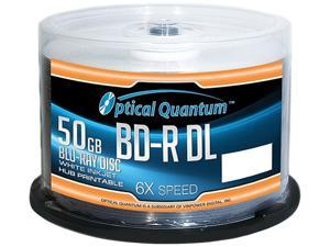 Optical Quantum 50GB 6X BD-R DL White Inkjet Printable 50 Packs Blu-ray Disc Model OQBDRDL06WIPH-50