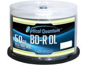Optical Quantum 50GB 6X BD-R DL 50 Packs Blu-ray Double Layer Logo Top Disc Model OQBDRDL06LT-50