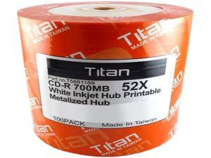 Titan 700MB 52X CD-R White Inkjet Hub Printable Metalized Hub 100 Packs Disc Model T5881189