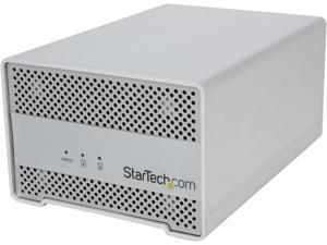 StarTech.com Dual Bay External 2.5-Inch HDD/SSD Aluminum Thunderbolt Hard Drive Enclosure with Thunderbolt Cable and Built-In Fan (S252SMTB3)