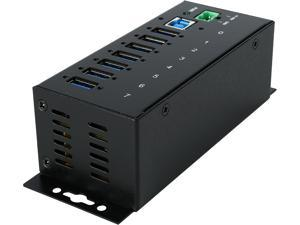 StarTech.com 7 Port Industrial USB 3.0 Hub 15kV ESD and 350W Surge Protection DIN Rail/Surface Mountable Metal Housing ST7300USBME