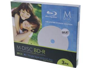 MDisc 25GB BD-R Recordable Media 3 Pack InkJet Printable Model MDBDIJ003