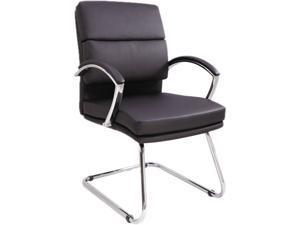 Neratoli Series Slim Profile Guest Chair, Black Soft Leather, Chrome Frame