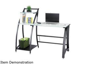 """Safco 1936TG Xpressions™ Computer Workstation 53 1/4""""w x 23 1/4""""d x 45""""h Tempered Glass&#59;Black (frame)"""