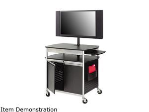 Safco 8941BL Scoot Flat Panel Multimedia Cart, 3-Shelf, 39-1/2w x 27d x 38-1/4h, Black - OEM