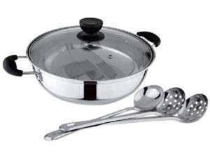 Tayama TG-28C Shabu Hot Pot with Divider and 3 Ladle spoons
