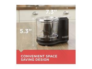 BLACK+DECKER HC150B One-Touch 1.5 Cups Capacity Electric Food Chopper with Improved Assembly & Lid, Black