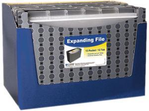 """Expanding File, Poly, Stand-Up, Letter, 9"""" Exp., 13 Pockets, Black/Gra"""