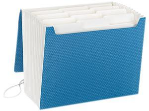 Supertab Accordion Expanding File, 12 Pockets, Letter, Blue, 1/Ea