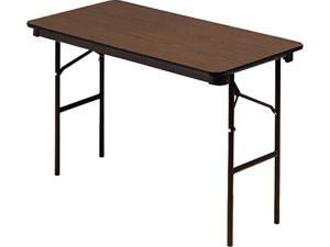 "Iceberg 55304 Economy Folding Table Rectangle - 48"" x 24"" x 29"" - Wood, Steel, Vinyl - Brown Leg, Black Edge"