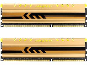 Avexir Core Series 16GB (2 x 8GB) 240-Pin DDR3 SDRAM DDR3 1600 (PC3 12800) Desktop Memory, gold heatsink with yellow LED under item caption Model AVD3U16001108G-2CEY