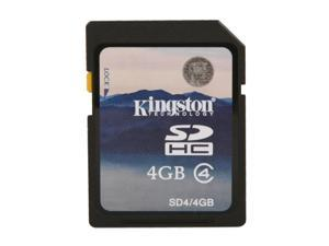 Kingston 4GB Secure Digital High-Capacity (SDHC) Flash Card W/ E-Tail clamshell Model SD4/4GBET