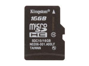 Kingston 16GB microSDHC Flash Card Single Pack w/o Adapter Model SDC10/16GBSP