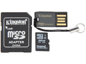 Kingston 32GB microSDHC Flash Card Bundle Kit (with a full-size SD adapter and USB reader) Model MBLY4G2/32GB
