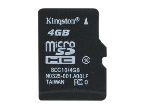 Kingston 4GB microSDHC Flash Card Model SDC10/4GBSP