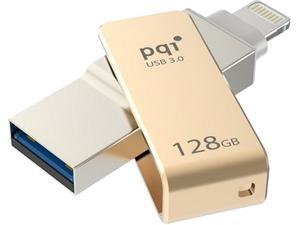 PQI iConnect Mini [Apple MFi] 128GB Mobile Flash Drive w/ Lightning Connector for iPhones / iPads / iPod / Mac & PC USB 3.0 (Gold) Model 6I04-128GR2001