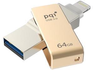 PQI iConnect Mini [Apple MFi] 64GB Mobile Flash Drive w/ Lightning Connector for iPhones / iPads / iPod / Mac & PC USB 3.0 (Gold) Model 6I04-064GR2001