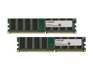 Crucial 2GB (2 x 1GB) 184-Pin DDR SDRAM DDR 400 (PC 3200) Dual Channel Kit Desktop Memory Model CT2KIT12864Z40B