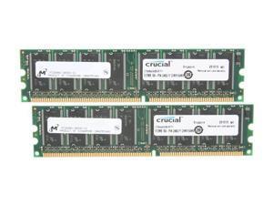 Crucial 1GB (2 x 512MB) 184-Pin DDR SDRAM DDR 400 (PC 3200) Desktop Memory Model CT2KIT6464Z40B