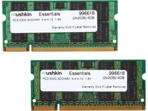 Mushkin Enhanced Essentials 4GB (2 x 2GB) 200-Pin DDR2 SO-DIMM DDR2 667 (PC2 5300) Dual Channel Kit Laptop Memory Model 996618