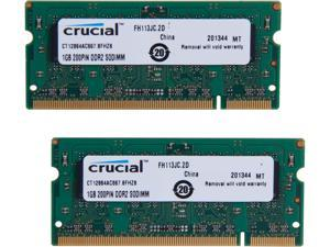 Crucial 2GB (2 x 1GB) 200-Pin DDR2 SO-DIMM DDR2 667 (PC2 5300) Dual Channel Kit Laptop Memory Model CT2KIT12864AC667