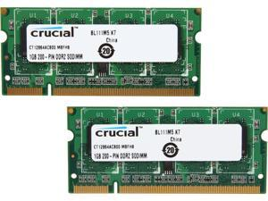 Crucial 2GB (2 x 1GB) 200-Pin DDR2 SO-DIMM DDR2 800 (PC2 6400) Dual Channel Kit Laptop Memory Model CT2KIT12864AC800